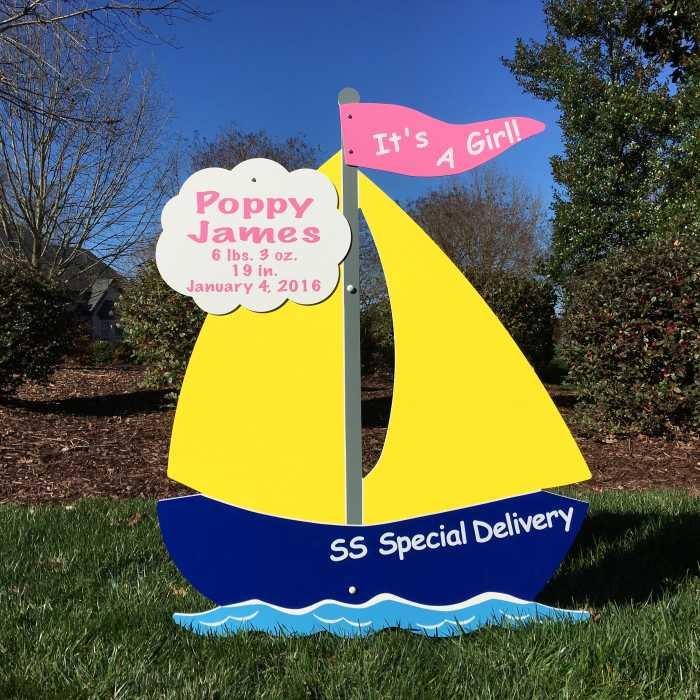 sailboat lawn sign